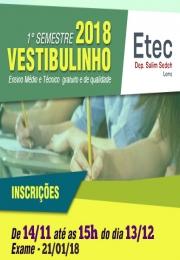 Inscrições para o Vestibulinho 2018 da ETEC já estão abertas!