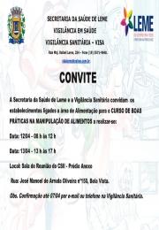 Curso de Boas Práticas na Manipulação de Alimentos pela Vigilância Sanitária Municipal (VISA)!